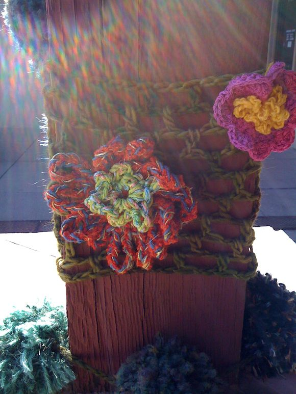 Yarnbombing at the cat with Deb and finishing iPad cases